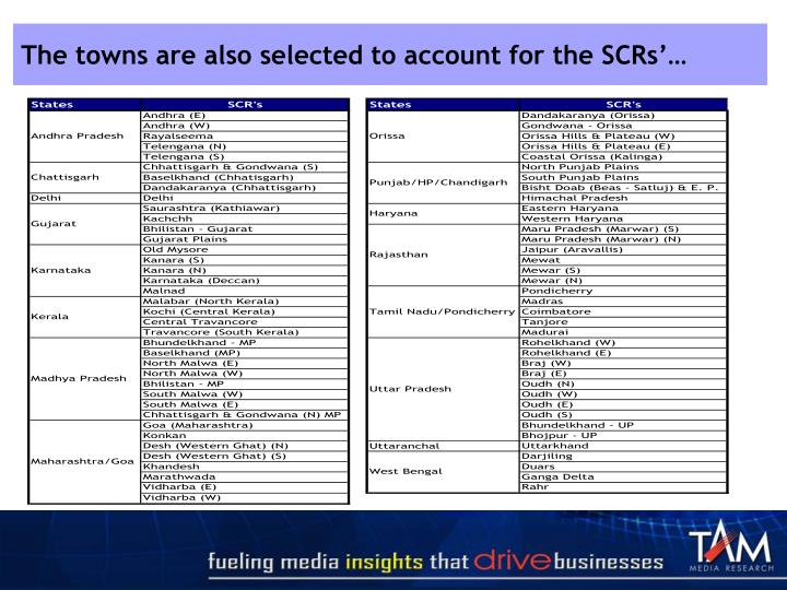 The towns are also selected to account for the SCRs'…