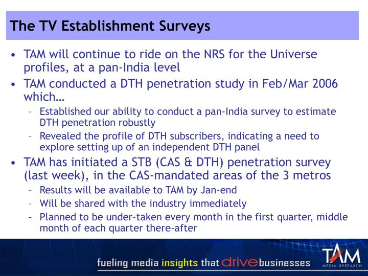 The TV Establishment Surveys