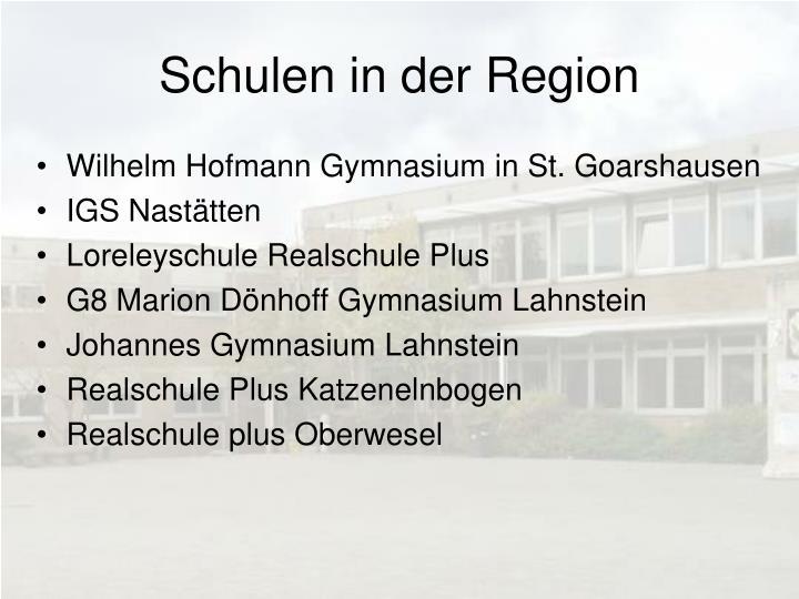 Schulen in der Region