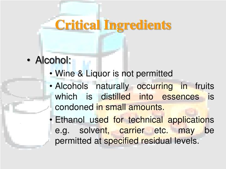 Critical Ingredients