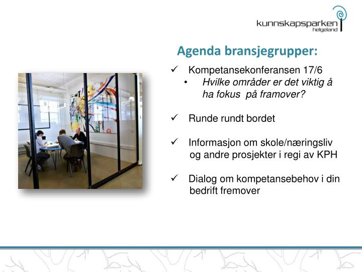 Agenda bransjegrupper: