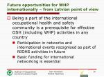 future opportunities for whp internationally from latvian point of view