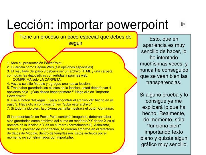 Lección: importar powerpoint