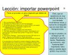 lecci n importar powerpoint