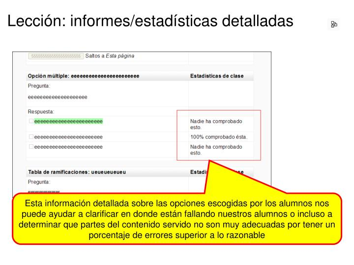 Lección: informes/estadísticas detalladas