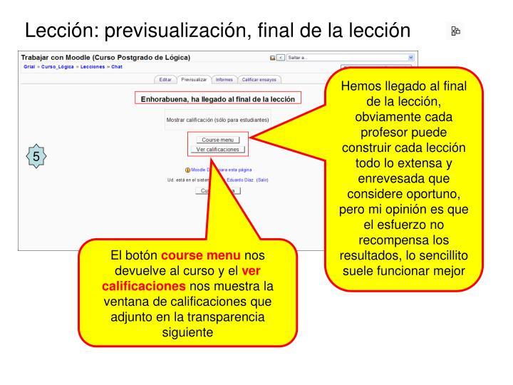 Lección: previsualización, final de la lección