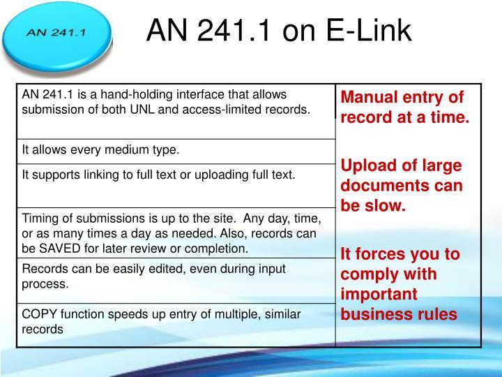 AN 241.1 on E-Link