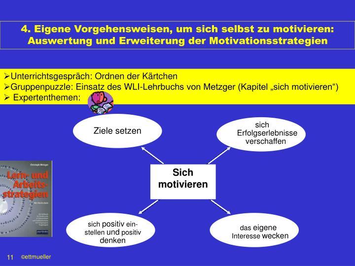 4. Eigene Vorgehensweisen, um sich selbst zu motivieren: Auswertung und Erweiterung der Motivationsstrategien