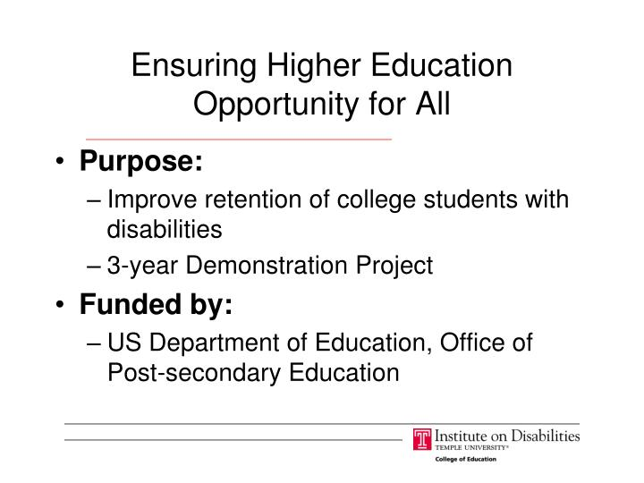 Ensuring Higher Education Opportunity for All