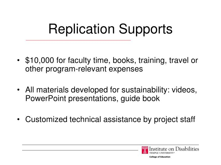 Replication Supports