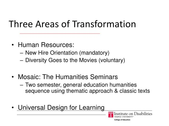 Three Areas of Transformation