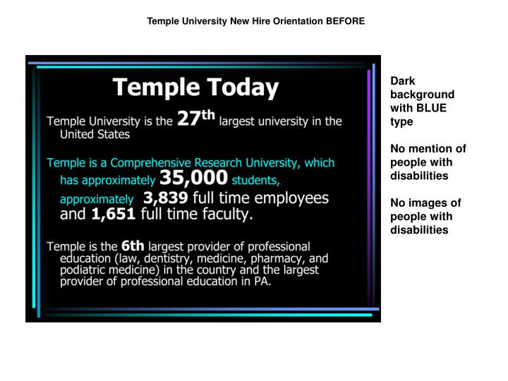Temple University New Hire Orientation BEFORE