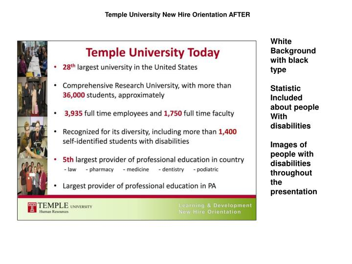 Temple University New Hire Orientation AFTER