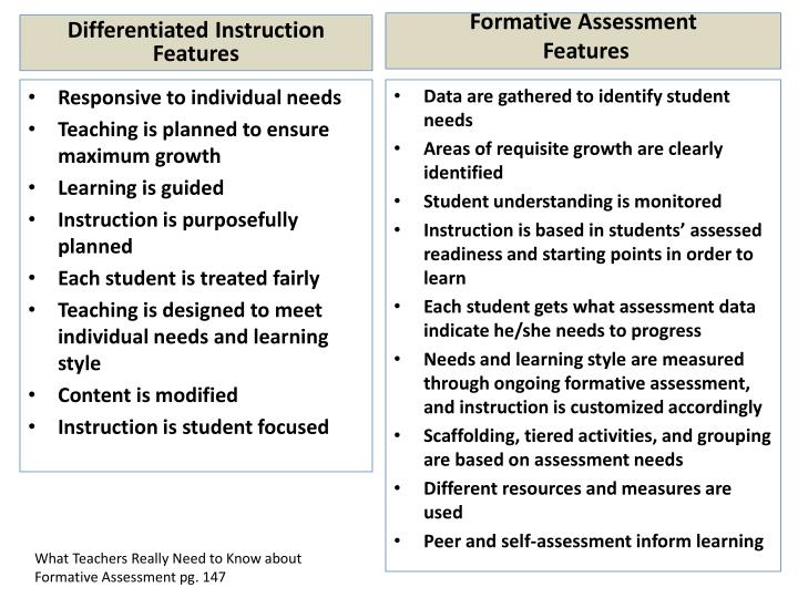 Differentiated Instruction Features