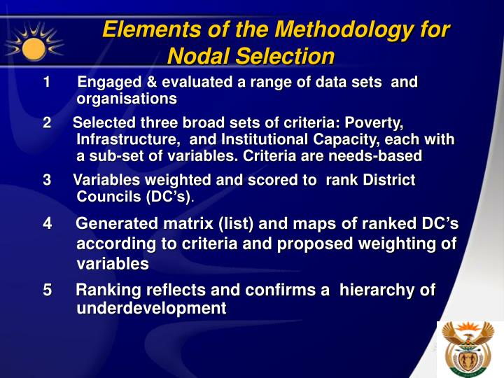 Elements of the Methodology for Nodal Selection