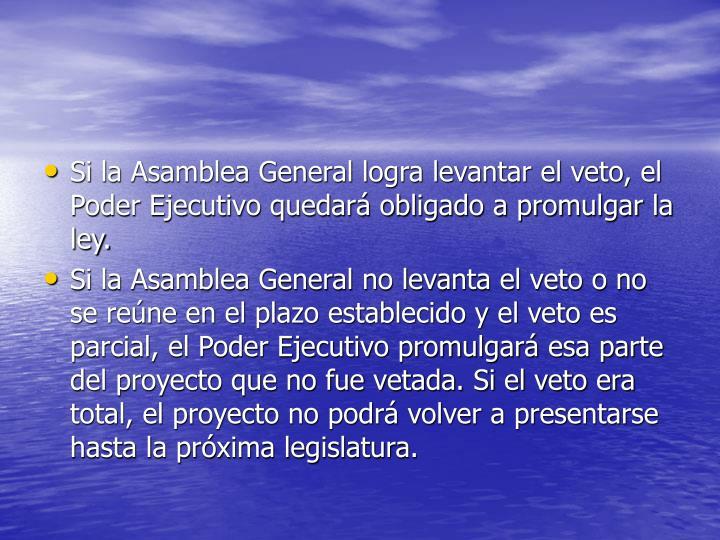 Si la Asamblea General logra levantar el veto, el Poder Ejecutivo quedará obligado a promulgar la ley.