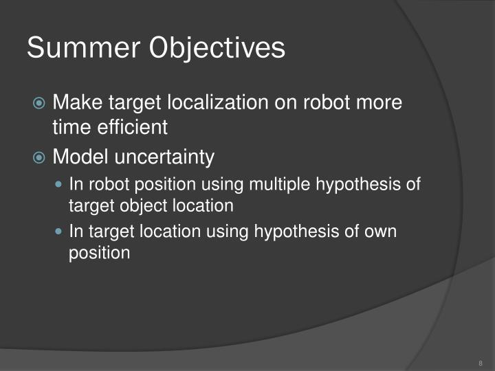Summer Objectives