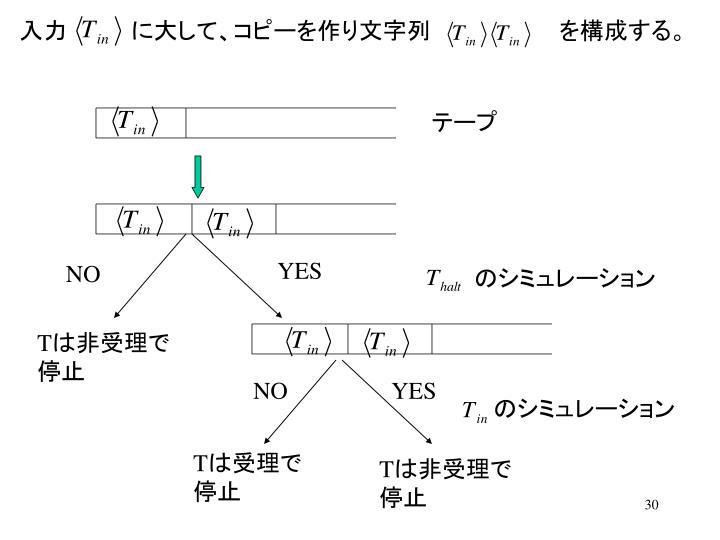 入力    に大して、コピーを作り文字列        を構成する。