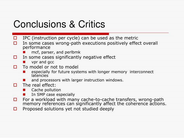 Conclusions & Critics