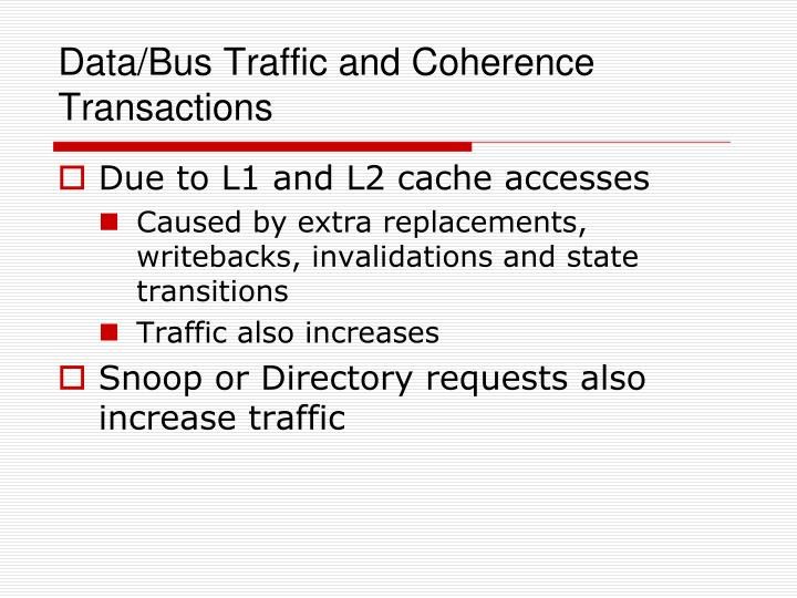 Data/Bus Traffic and Coherence Transactions