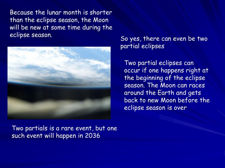 Because the lunar month is shorter than the eclipse season, the Moon will be new at some time during the eclipse season.