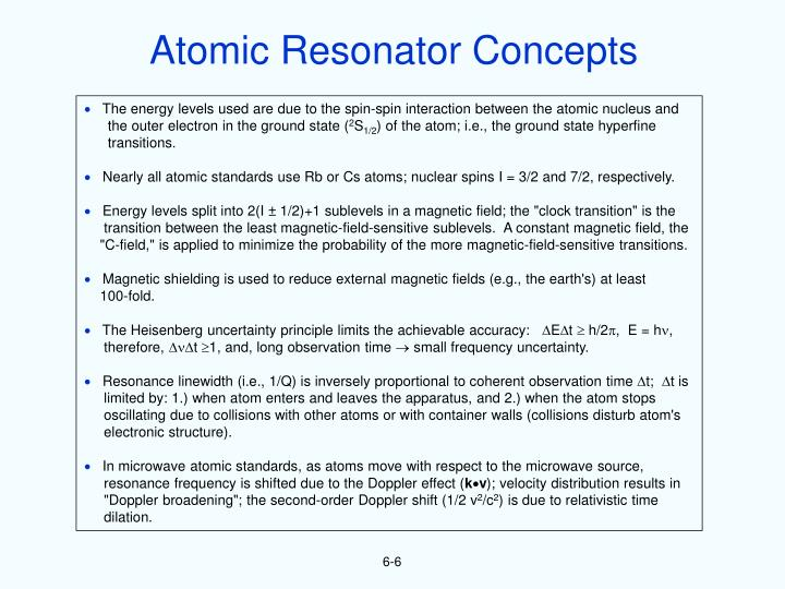 Atomic Resonator Concepts