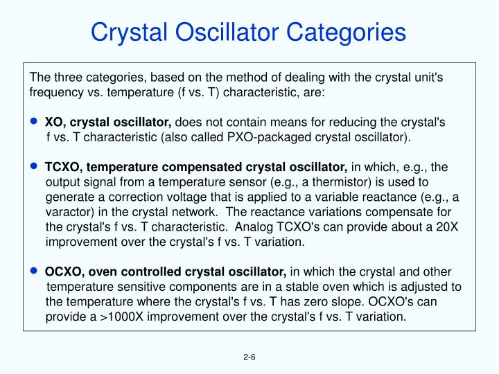 Crystal Oscillator Categories
