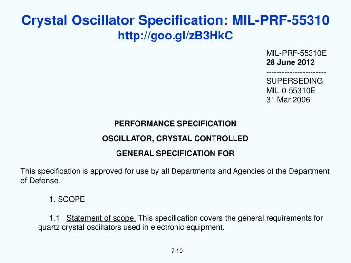 Crystal Oscillator Specification: MIL-PRF-55310