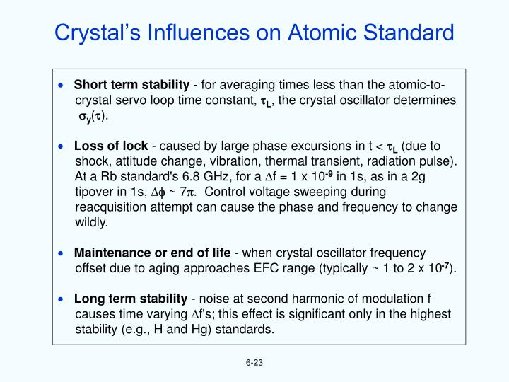 Crystal's Influences on Atomic Standard