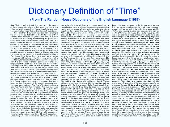 "Dictionary Definition of ""Time"""
