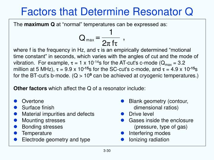Factors that Determine Resonator Q