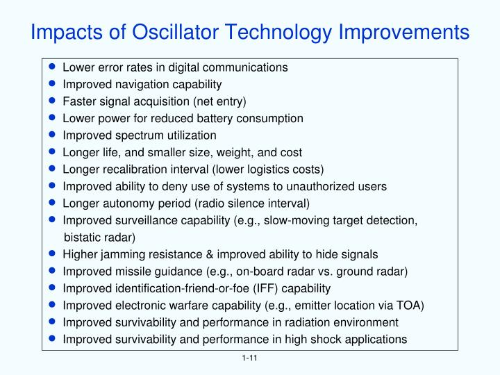 Impacts of Oscillator Technology Improvements