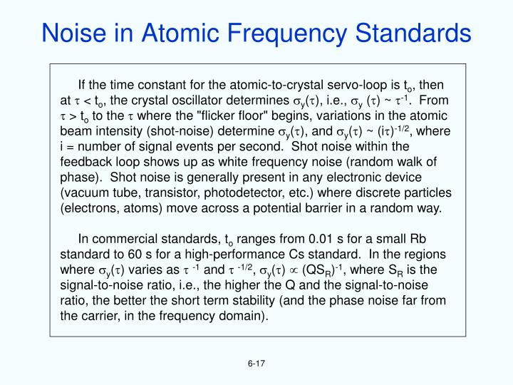 Noise in Atomic Frequency Standards
