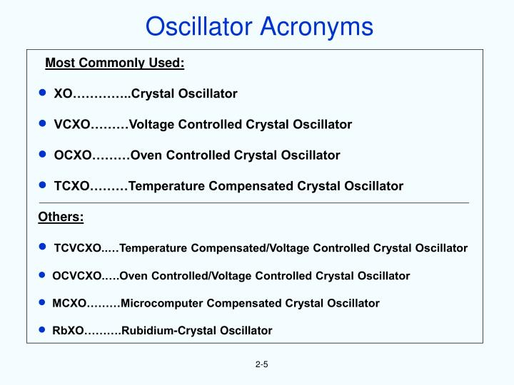 Oscillator Acronyms