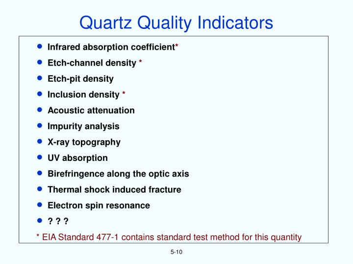 Quartz Quality Indicators
