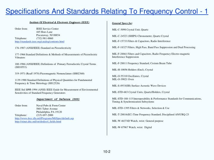 Specifications And Standards Relating To Frequency Control - 1