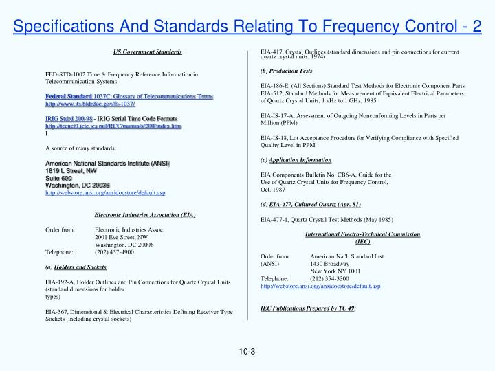 Specifications And Standards Relating To Frequency Control - 2
