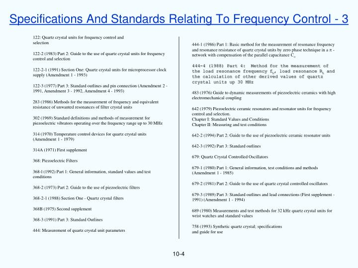 Specifications And Standards Relating To Frequency Control - 3