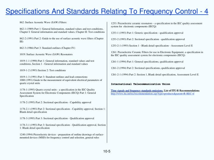 Specifications And Standards Relating To Frequency Control - 4