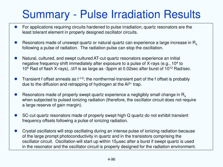 Summary - Pulse Irradiation Results