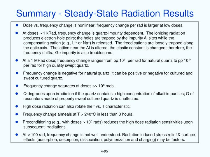 Summary - Steady-State Radiation Results