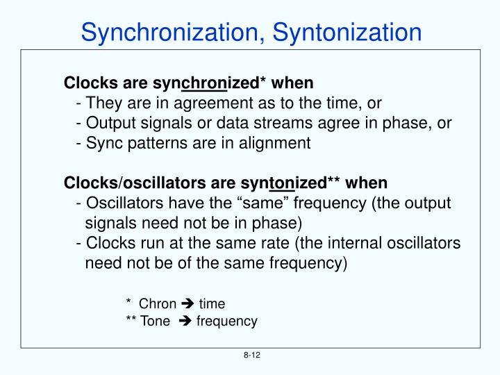 Synchronization, Syntonization