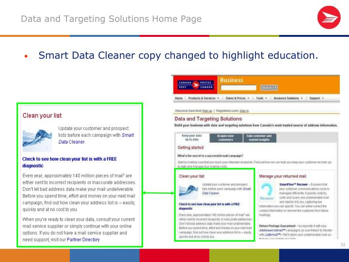 Smart Data Cleaner copy changed to highlight education.