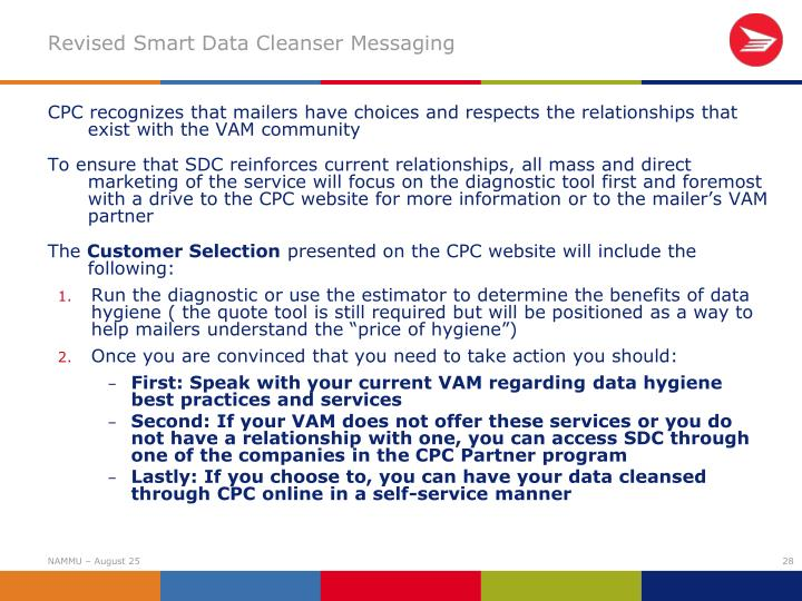 Revised Smart Data Cleanser Messaging