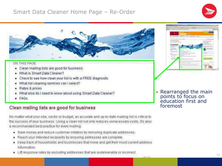 Smart Data Cleaner Home Page – Re-Order