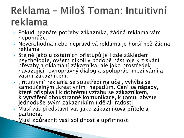 Reklama – Miloš Toman: Intuitivní reklama