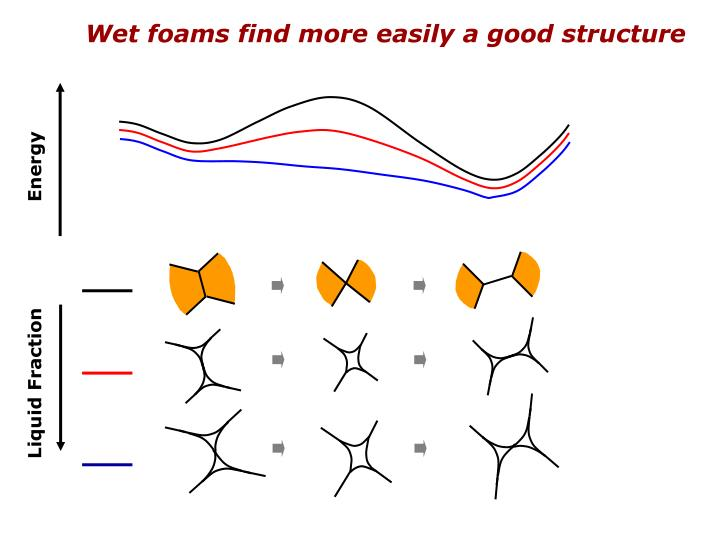 Wet foams find more easily a good structure