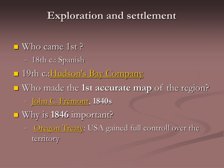 Exploration and settlement