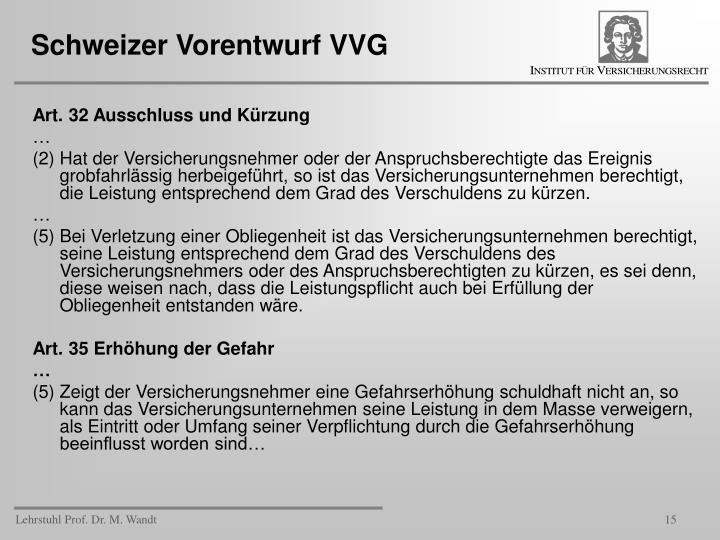 Schweizer Vorentwurf VVG