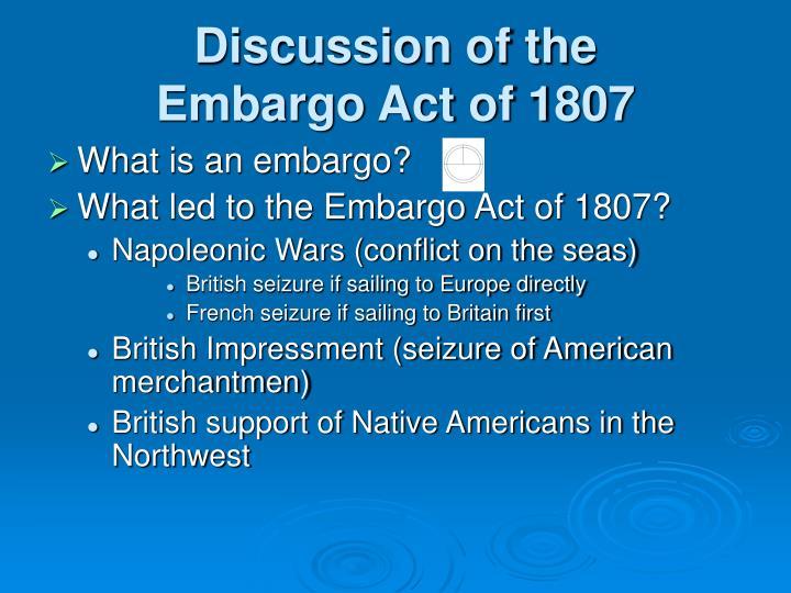 the embargo act of 1807 essay